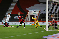 Football - 2020 / 2021 Sky Bet Championship - AFC Bournemouth vs. Derby County - The Vitality Stadium<br /> <br /> Lee Buchanan of Derby watches as his shot beats Bournemouth's Asmir Begovic but is blocked on the line by Bournemouth's Steve Cook during the Championship match at the Vitality Stadium (Dean Court) Bournemouth <br /> <br /> COLORSPORT/SHAUN BOGGUST