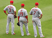 ATLANTA, GA - JULY 27:  Outfielders (from left to right) Carlos Beltran #3, John Jay #19 and Matt Holliday #7 of the St. Louis Cardinals await a pitching change during the game against the Atlanta Braves at Turner Field on July 27, 2013 in Atlanta, Georgia.  (Photo by Mike Zarrilli/Getty Images)