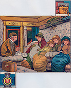 English family on night train home from holiday in France. Illustration 1885.