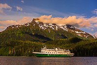 "Un-Cruise small cruise ship ""Wilderness Explorer"" in Nakwasina Sound,  Inside Passage, Southeast Alaska USA."