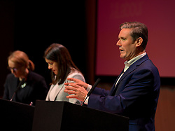 Pictured: Rebecca Long-Bailey, Lisa Nandy and Keir Starmer on stage.<br /> <br /> Candidates in the race to be the next Labour leader took part in a hustings in Glasgow on Saturday.<br /> <br /> (c) Dave Johnston