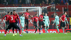 Manchester United's Anthony Martial (centre) celebrates scoring his side's first goal of the game during the Premier League match at Old Trafford, Manchester.