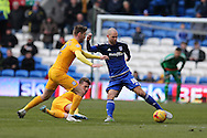 Matthew Connolly of Cardiff city ® gets away from Paul Gallagher of Preston (l). Skybet football league championship match, Cardiff city v Preston NE at the Cardiff city stadium in Cardiff, South Wales on Saturday 27th Feb 2016.<br /> pic by  Andrew Orchard, Andrew Orchard sports photography.