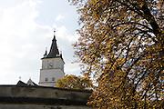 Romania, Rural Church steeple and clock
