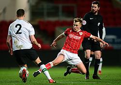 Bristol City's Tom Richards tackles Liverpool's Conor Materson - Mandatory by-line: Alex James/JMP - 13/02/2018 - FOOTBALL - Ashton Gate Stadium - Bristol, England - Bristol City U23 v Liverpool U23 - Premier League Cup