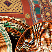 Warm desert colors are woven into these Native American handmade baskets in Santa Fe, New Mexico.