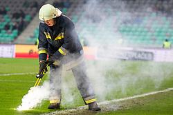 Firefighter during football match between NK Olimpija Ljubljana and NK Maribor in 1st leg match in Quaterfinal of Slovenian cup 2017/2018, on November 11, 2017 in SRC Stozice, Ljubljana, Slovenia. Photo by Urban Urbanc / Sportida