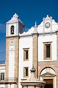 Church of Saint Antao - Igreja de Santo Antao and fountain in Giraldo Square - Praca do Giraldo - Evora, Portugal