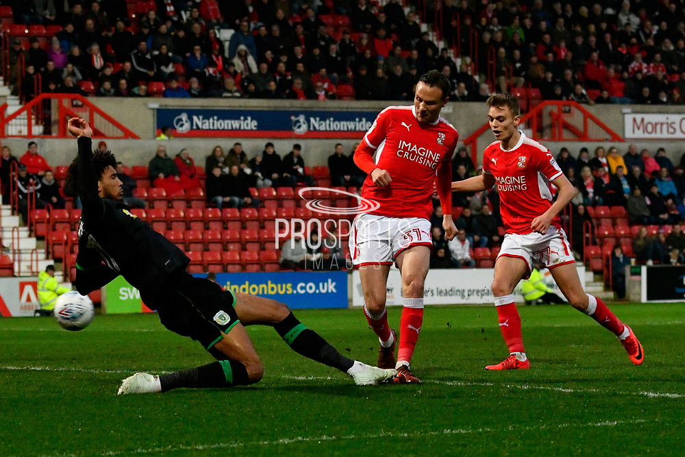 Goal - Matt Taylor (31) of Swindon Town scores a goal to give a 1-0 lead to the home team during the EFL Sky Bet League 2 match between Swindon Town and Yeovil Town at the County Ground, Swindon, England on 10 April 2018. Picture by Graham Hunt.