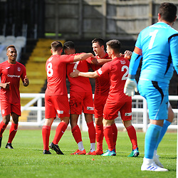 TELFORD COPYRIGHT MIKE SHERIDAN GOAL. Brendon Daniels of Telford is congratulated after scoring to make it 1-0  during the National League North fixture between Bradford Park Avenue and AFC Telford United at the Horsfall Stadium on Saturday, August 31, 2019<br /> <br /> Picture credit: Mike Sheridan<br /> <br /> MS201920-014
