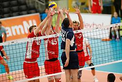 20170524 NED: 2018 FIVB Volleyball World Championship qualification, Koog aan de Zaan<br />Paul Buchegger (18), Nicolai Grabmuller (15), Lorenz Koraimann (7) of Austria, Andreas - Dimitrios Fragkos (15) of Greece<br />©2017-FotoHoogendoorn.nl / Pim Waslander