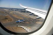 landing at Narita airport Japan with a KLM airplane on the tarmac