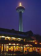 Evening view of the Skylon Tower above the Victoria Park Restaurant, Niagara Falls, Ontaio, Canada.