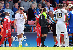 Peterborough United's Jack Baldwin bleeds after picking up a head injury - Photo mandatory by-line: Joe Dent/JMP - Mobile: 07966 386802 09/08/2014 - SPORT - FOOTBALL - Rochdale - Spotland Stadium - Rochdale AFC v Peterborough United - Sky Bet League One - First game of the season