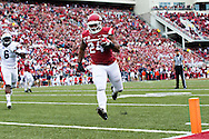 FAYETTEVILLE, AR - OCTOBER 24:  Kody Walker #24 of the Arkansas Razorbacks runs the ball in for a touchdown in overtime against the Auburn Tigers at Razorback Stadium Stadium on October 24, 2015 in Fayetteville, Arkansas.  The Razorbacks defeated the Tigers in 4 OT's 54-46.  (Photo by Wesley Hitt/Getty Images) *** Local Caption *** Kody Walker