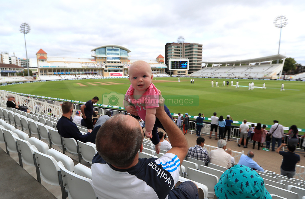 Spectators in the stands during day five of the Specsavers Third Test match at Trent Bridge, Nottingham. PRESS ASSOCIATION Photo. Picture date: Wednesday August 22, 2018. See PA story CRICKET England. Photo credit should read: Mike Egerton/PA Wire. RESTRICTIONS: Editorial use only. No commercial use without prior written consent of the ECB. Still image use only. No moving images to emulate broadcast. No removing or obscuring of sponsor logos.