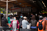 A view of a crowded South Melbourne Market during COVID-19 in Melbourne, Australia. Melbourne held hostage to a Premier unwilling to open up. After promising businesses and Melbournians that 'significant' announcements over easing restrictions would be made today, Premier Daniel Andrews once again backtracked on his commitments and has delayed Melbourne's reopening. This comes as the Northern Metro cluster continues to grow. (Photo by Dave Hewison/Speed Media)