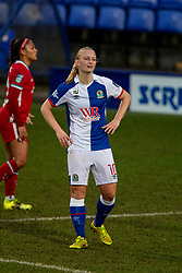BIRKENHEAD, ENGLAND - Sunday, March 28, 2021: Blackburn Rovers' Elise Hughes during the FA Women's Championship game between Liverpool FC Women and Blackburn Rovers Ladies FC at Prenton Park. The game ended in a 1-1 draw. (Pic by David Rawcliffe/Propaganda)
