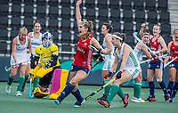 AMSTELVEEN - Sarah Evans (Eng) <br /> heeft gescoord  tijdens de wedstrijd dames , Ierland-Engeland (1-5) bij het  EK hockey , Eurohockey 2021.COPYRIGHT KOEN SUYK