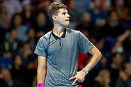 Dominic Thiem of Austria watches a replay during the Nitto ATP World Tour Finals at the O2 Arena, London, United Kingdom on 13 November 2018.Photo by Martin Cole