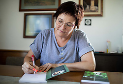 Portrait of mathematician Marta Zabret when signing her book on July 28, 2021 in Kamnik, Slovenia. Photo by Vid Ponikvar / Sportida