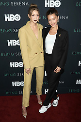 """Gigi Hadid and Bella Hadid attend the HBO premiere of """"Being Serena"""" at the Time Warner Center in New York."""