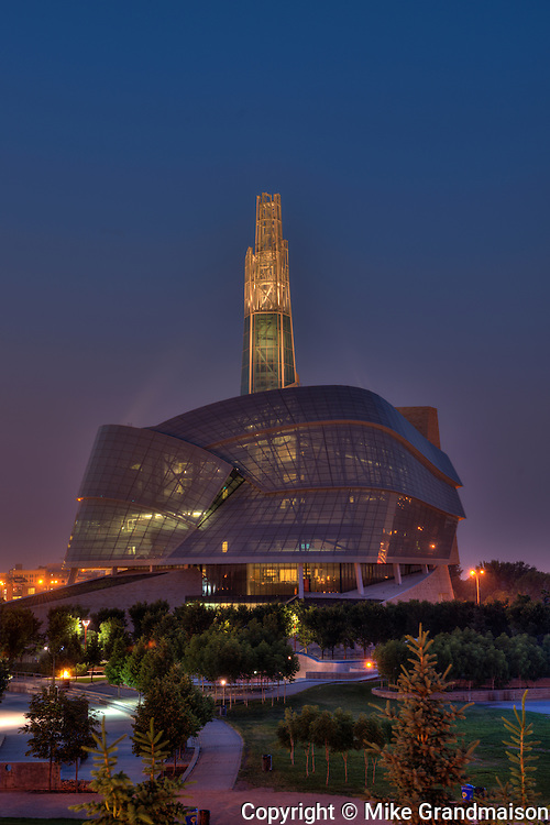 Canadian Museum for Human Rights (CMHR) at night<br /> Winnipeg<br /> Manitoba<br /> Canada