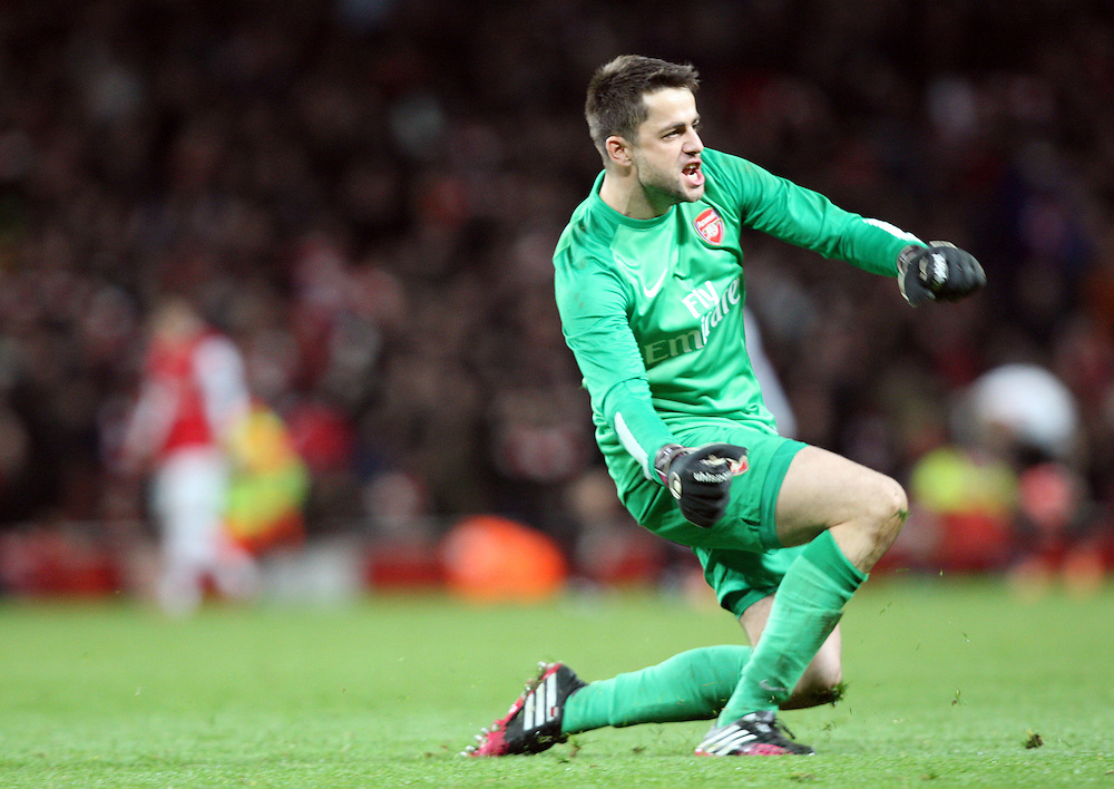 Arsenal's Lukasz Fabianski celebrates Aresnal win after the game<br /> Photo by Kieran Galvin/CameraSport<br /> <br /> Football - FA Challenge Cup Fifth Round - Arsenal v Liverpool - Sunday 16th February 2014 - Emirates Stadium - London<br /> <br />  © CameraSport - 43 Linden Ave. Countesthorpe. Leicester. England. LE8 5PG - Tel: +44 (0) 116 277 4147 - admin@camerasport.com - www.camerasport.com