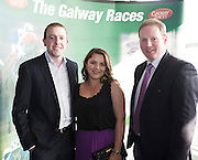 Tony and Laura Caulfield , Caulfield Industrial and Micahel Moloney Galway Race Course Manager at the launch of The Galway Races 2016 Summer Festival which runs from the 25th of July to the 31st of July in Galway City. Photo: Andrew Downes :