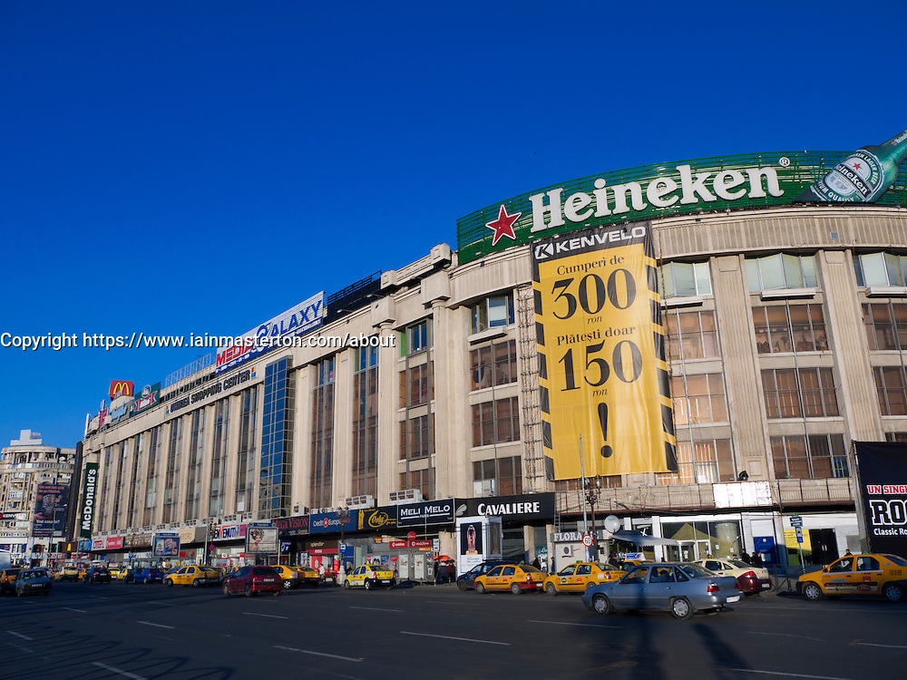 View of unirae Shopping Center in Unirii  Square in central Bucharest Romania