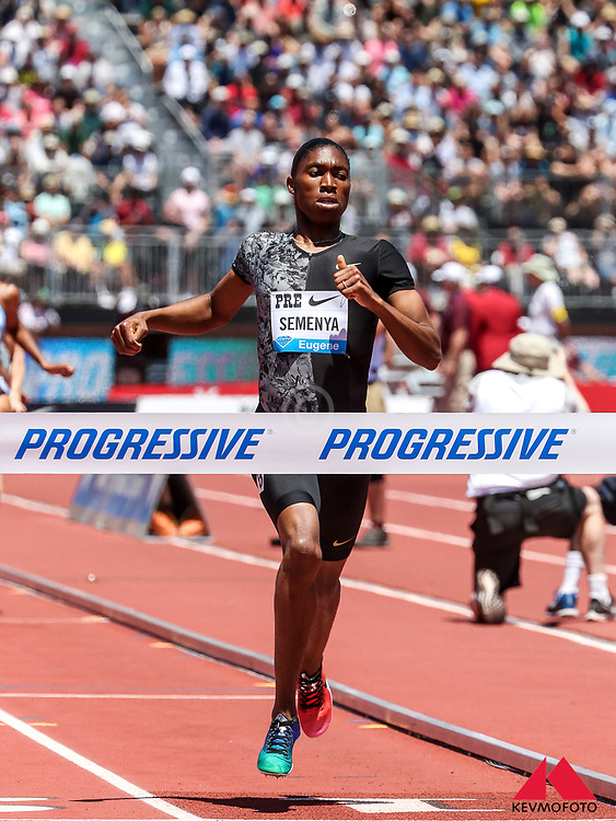 Caster Semenya, South Africa, wins womens 800 meters in 1:55.70 (new meet record) at 2019 The Prefontaine Classic Track & Field<br /> IAAF Diamond League