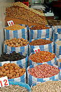 Israel, Tel Aviv, Lewinski market, nuts and seeds (such as pumpkin watermelon or sunflower) that are cracked open with the teeth and eaten as snack food