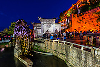 Giant water wheels in Dayan (The Old Town), Lijiang, Yunnan Province, China. The Old Town is a UNESCO World Heritage Site.