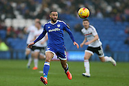 Jazz Richards of Cardiff city in action. EFL Skybet championship match, Cardiff city v Fulham at the Cardiff city stadium in Cardiff, South Wales on Saturday 25th February 2017.<br /> pic by Andrew Orchard, Andrew Orchard sports photography.