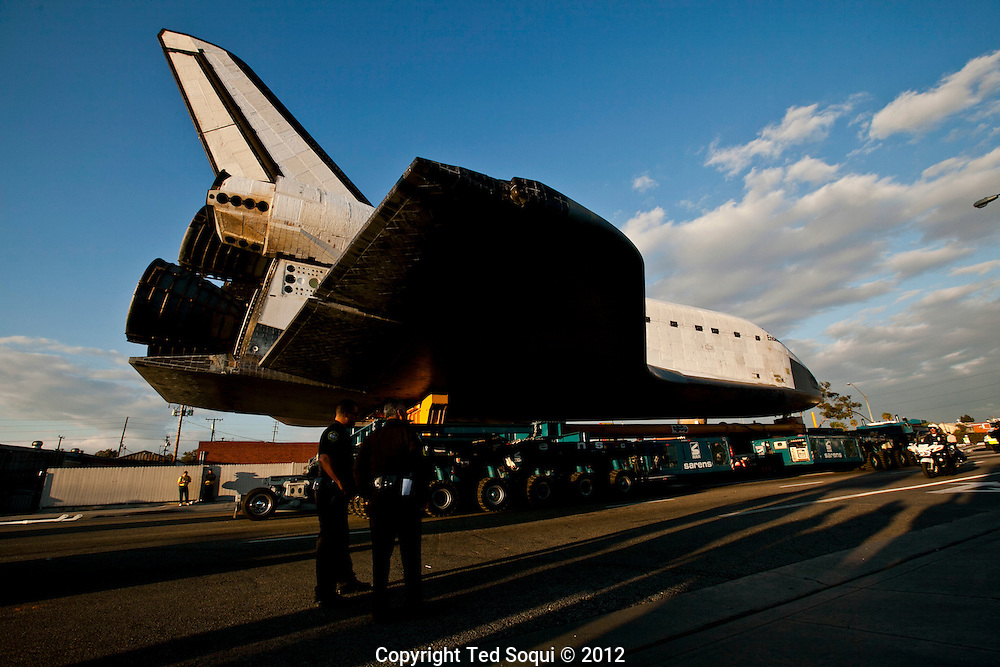 Thousands of Angelenos line the streets of Los Angeles to watch the Space Shuttle Endeavour on it's final mission to it's new home at the California Science Center.