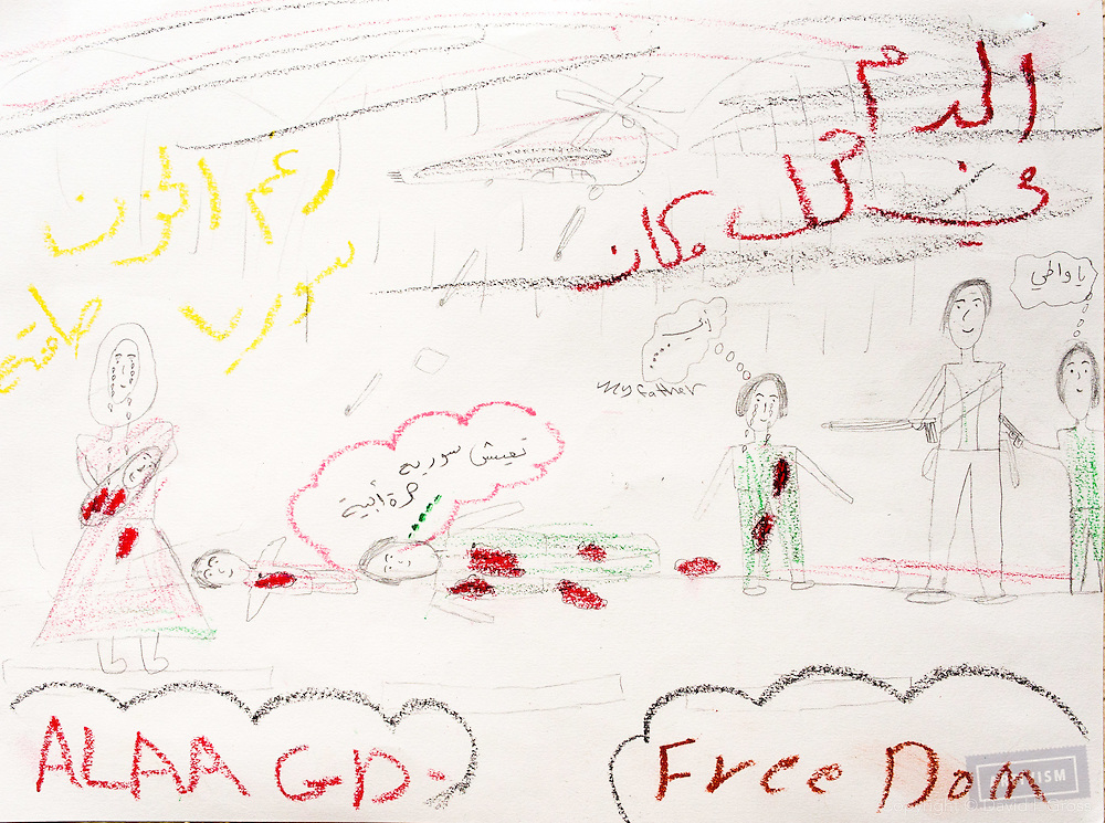 """""""There is blood everywhere. Assad killed the father, and the mother is holding her baby, who died. They are all afraid of the Syrian state."""" Drawing by Syrian girl, age 13. (Topic for this session: dealing with loss.)"""