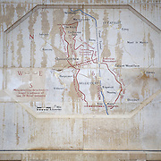 An engraved map at the Bellicourt American Monument illustrating the American operations.<br /> Bellicourt American Monument that commemorates the achievements and sacrifices of the 90,000 American troops who served in battle with the British Armies in France during 1917 and 1918. Bellicourt, Picardy, France.