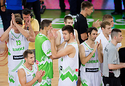 Players of Slovenia during basketball match between National teams of Slovenia and Serbia in day 3 of Adecco cup, on August 5, 2012 in Arena Stozice, Ljubljana, Slovenia. (Photo by Vid Ponikvar / Sportida.com)