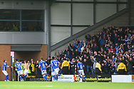 Ipswich players and fans celebrate the winning goal during the EFL Sky Bet Championship match between Burton Albion and Ipswich Town at the Pirelli Stadium, Burton upon Trent, England on 28 October 2017. Photo by John Potts.
