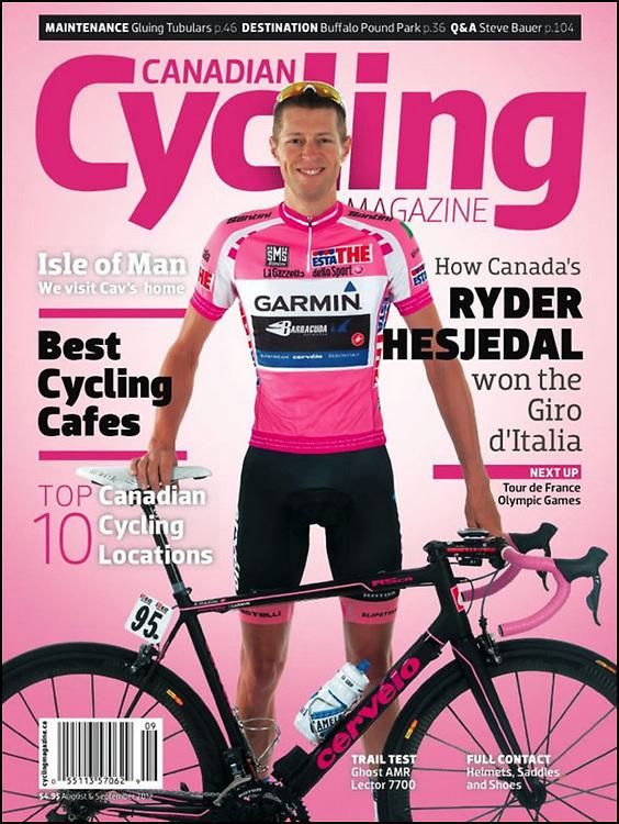 Toni Vilches Fotografia fa la portada de Canadian Cycling Magazine amb una foto del guanyador del Giro d'Italia, Ryder Hesjedal.
