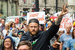 London, May 29th 2107.  Anti-foxhunting protesters through London to Downing Street following Prime Minister Theresa May's hint that she could allow a Parliamentary debate on the unbanning of the sport.
