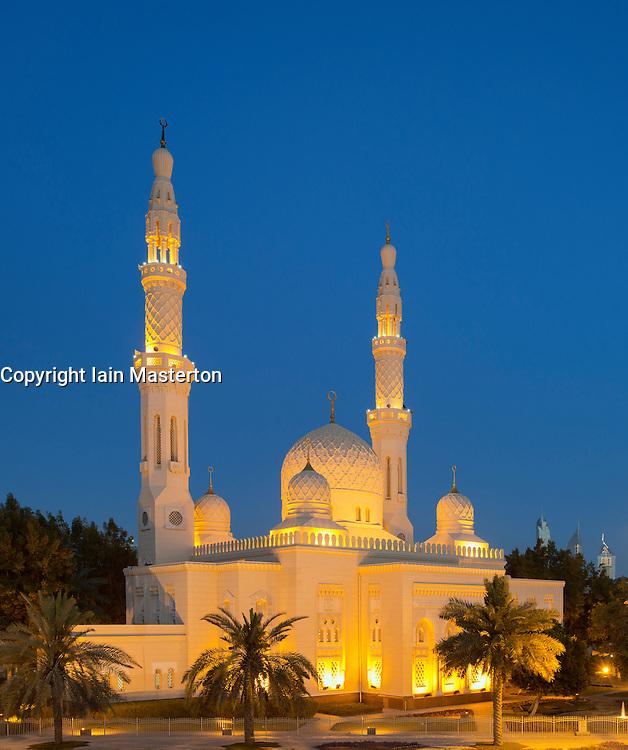 Evening view of Jumeirah Grand Mosque in Dubai United Arab Emirates UAE