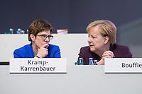 22 NOV 2019, LEIPZIG/GERMANY:<br /> Annegret Kramp-Karrenbauer (L), CDU Bundesvorsitzende und Bundesverteidigungsministerin, und Angela Merkel (R), CDU, Bundeskanzlerin, im Gespraech, CDU Bundesparteitag, CCL Leipzig<br /> IMAGE: 20191122-01-264<br /> KEYWORDS: Parteitag, party congress, Gespräch