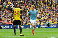 Goal - Kevin De Bruyne (17) of Manchester City celebrates  scoring a goal to give a 3-0 lead during the The FA Cup Final match between Manchester City and Watford at Wembley Stadium, London, England on 18 May 2019.