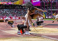 Athletics - 2017 IAAF London World Athletics Championships - Day Three, Morning Session<br /> <br /> Women's Hepathlon - Long Jump<br /> <br /> Nafissatou Thiem (Belguim) leaps into the Long Jump pit at London Stadium<br /> <br /> COLORSPORT/DANIEL BEARHAM
