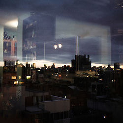 NEW YORK, NY, USA. JUNE 17, 2010. Manhattan at night, as viewed from Alden's place. Photo: Antoine Doyen