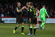 Forest Green Rovers Christian Doidge(9) scores a goal 0-2 and celebrates during the EFL Sky Bet League 2 match between Stevenage and Forest Green Rovers at the Lamex Stadium, Stevenage, England on 26 January 2019.