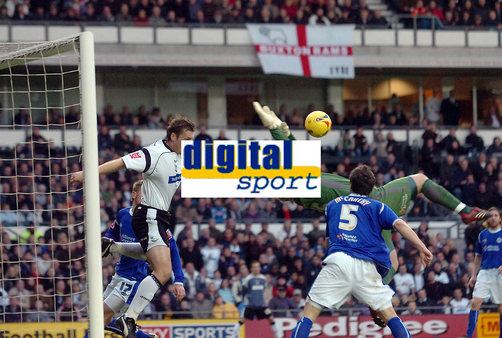 Photo: Kevin Poolman.<br />Derby County v Leicester City. Coca Cola Championship. 25/11/2006. Steve Howard of Derby pulls back the Leicester keeper Conrad Logan.