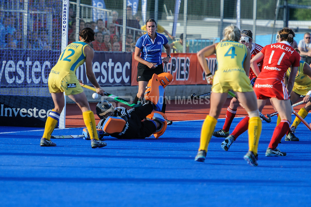 Maddie Hinch of England makes a save against Australia during the Final of the Investec Hockey World League Semi Final 2013, London, UK on 30 June 2013. Photo: Simon Parker