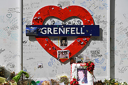 © Licensed to London News Pictures. 06/07/2020. London, UK.  General view of Grenfell Tower on the day a press conference was called by the group Grenfell Next of Kin, coinciding resumption of the Inquiry into the fire. Photo credit: Guilhem Baker/LNP